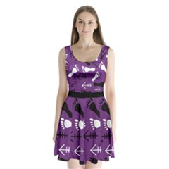 Purple Split Back Mini Dress  by HASHHAB