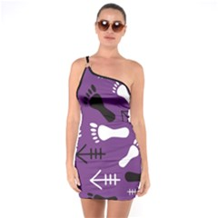 Purple One Shoulder Ring Trim Bodycon Dress by HASHHAB