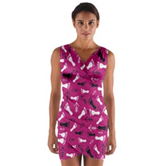 Hot Pink Wrap Front Bodycon Dress by HASHHAB