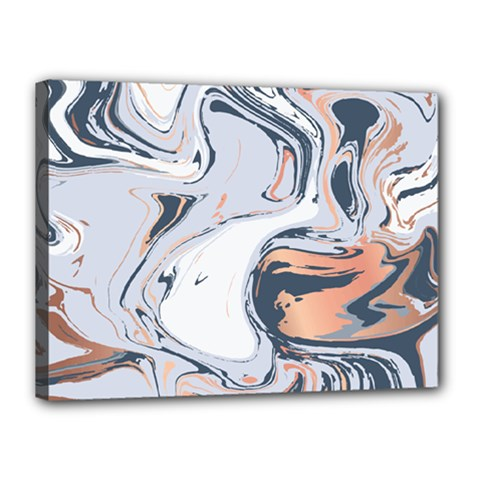 Liquid Gold And Navy Marble Canvas 16  X 12  by goljakoff