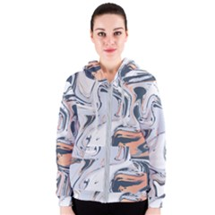Liquid Gold And Navy Marble Women s Zipper Hoodie by goljakoff