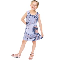Liquid Gold And Navy Marble Kids  Tunic Dress by goljakoff