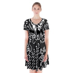 Chicken Hawk Invert Short Sleeve V Neck Flare Dress