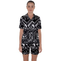 Chicken Hawk Invert Satin Short Sleeve Pyjamas Set by MRTACPANS