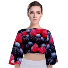 Berries 2 Tie Back Butterfly Sleeve Chiffon Top by trendistuff