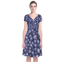 Blueberries 3 Short Sleeve Front Wrap Dress by trendistuff