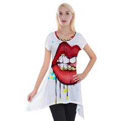 Bit Your Tongue Short Sleeve Side Drop Tunic