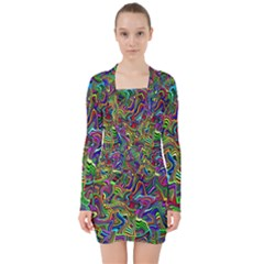 Artwork By Patrick Colorful 9 V Neck Bodycon Long Sleeve Dress