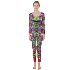Flower Wall With Wonderful Colors And Bloom Long Sleeve Catsuit by pepitasart