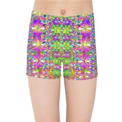 Flower Wall With Wonderful Colors And Bloom Kids Sports Shorts by pepitasart