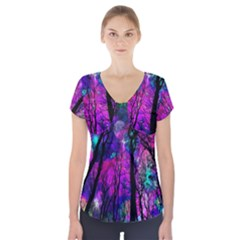 Magic Forest Short Sleeve Front Detail Top by augustinet