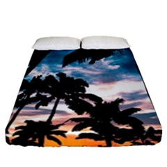 Palm Trees Summer Dream Fitted Sheet (queen Size) by augustinet