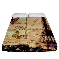 Vintage Paris Carte Postale Fitted Sheet (king Size) by augustinet