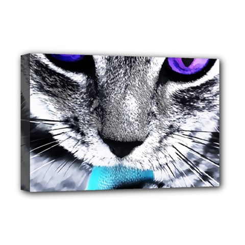 Purple Eyes Cat Deluxe Canvas 18  X 12   by augustinet