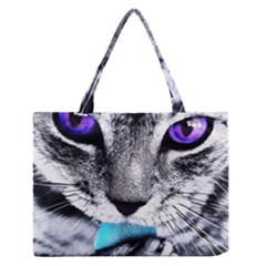 Purple Eyes Cat Zipper Medium Tote Bag by augustinet