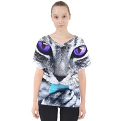 Purple Eyes Cat V Neck Dolman Drape Top