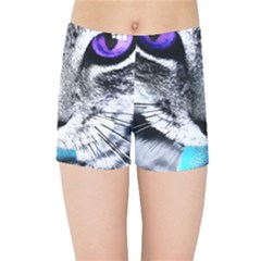 Purple Eyes Cat Kids Sports Shorts by augustinet
