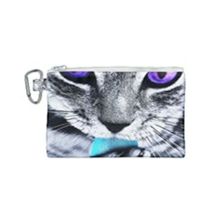 Purple Eyes Cat Canvas Cosmetic Bag (small) by augustinet