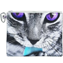 Purple Eyes Cat Canvas Cosmetic Bag (xxxl) by augustinet