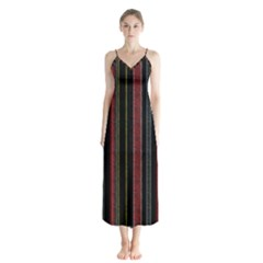 Multicolored Dark Stripes Pattern Button Up Chiffon Maxi Dress by dflcprints
