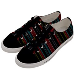 Multicolored Dark Stripes Pattern Men s Low Top Canvas Sneakers by dflcprints