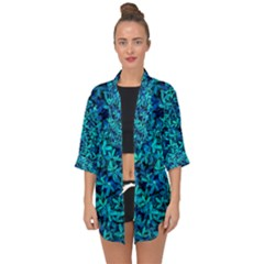 Teal Leafs Open Front Chiffon Kimono by augustinet
