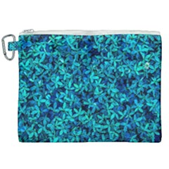 Teal Leafs Canvas Cosmetic Bag (xxl) by augustinet