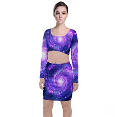 Ultra Violet Whirlpool Galaxy Long Sleeve Crop Top & Bodycon Skirt Set