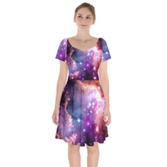 Deep Space Dream Short Sleeve Bardot Dress by augustinet