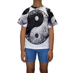 Grunge Yin Yang Kids  Short Sleeve Swimwear