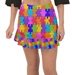 Colorful-10 Fishtail Mini Chiffon Skirt