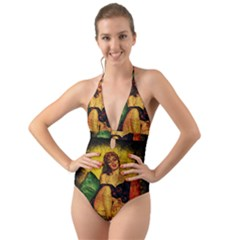 Pin Up Girl  Halter Cut Out One Piece Swimsuit