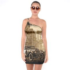 Vintage Old Car One Soulder Bodycon Dress by Valentinaart