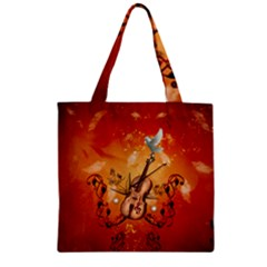 Violin With Violin Bow And Dove Zipper Grocery Tote Bag by FantasyWorld7