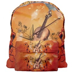 Violin With Violin Bow And Dove Giant Full Print Backpack by FantasyWorld7