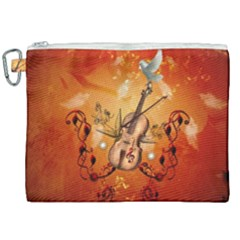 Violin With Violin Bow And Dove Canvas Cosmetic Bag (xxl) by FantasyWorld7