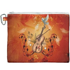 Violin With Violin Bow And Dove Canvas Cosmetic Bag (xxxl) by FantasyWorld7