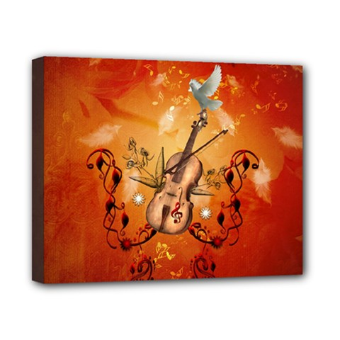 Violin With Violin Bow And Dove Canvas 10  X 8  by FantasyWorld7