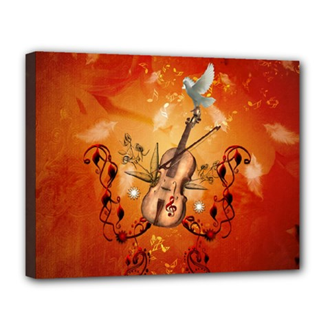 Violin With Violin Bow And Dove Canvas 14  X 11  by FantasyWorld7
