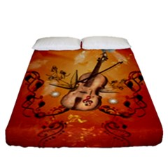 Violin With Violin Bow And Dove Fitted Sheet (queen Size) by FantasyWorld7