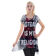 Football Is My Religion Short Sleeve Side Drop Tunic by Valentinaart