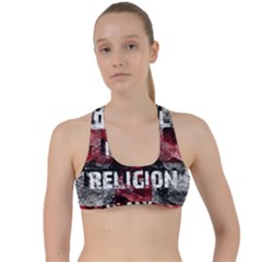 Football Is My Religion Criss Cross Racerback Sports Bra