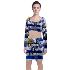 Football Is My Religion Long Sleeve Crop Top & Bodycon Skirt Set by Valentinaart