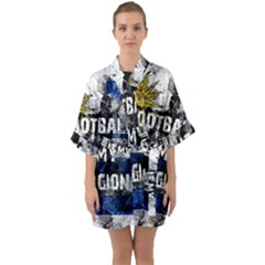 Football Is My Religion Quarter Sleeve Kimono Robe by Valentinaart