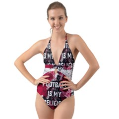 Football Is My Religion Halter Cut Out One Piece Swimsuit
