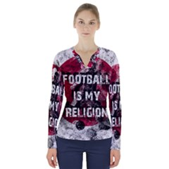 Football Is My Religion V Neck Long Sleeve Top