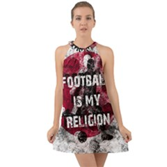 Football Is My Religion Halter Tie Back Chiffon Dress