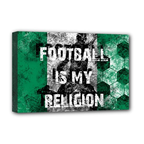 Football Is My Religion Deluxe Canvas 18  X 12   by Valentinaart