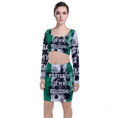 Football Is My Religion Long Sleeve Crop Top & Bodycon Skirt Set