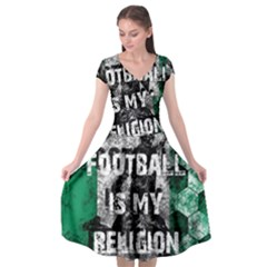 Football Is My Religion Cap Sleeve Wrap Front Dress